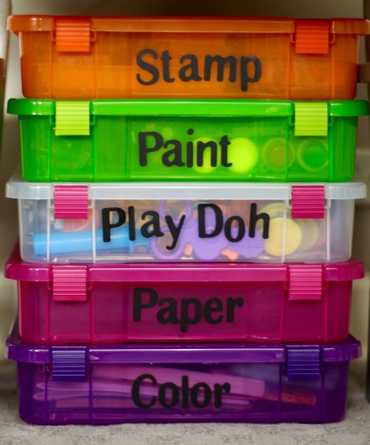 Kids Art Room Ideas - Under Table Storage by labeling bins using vinyl letter stickers