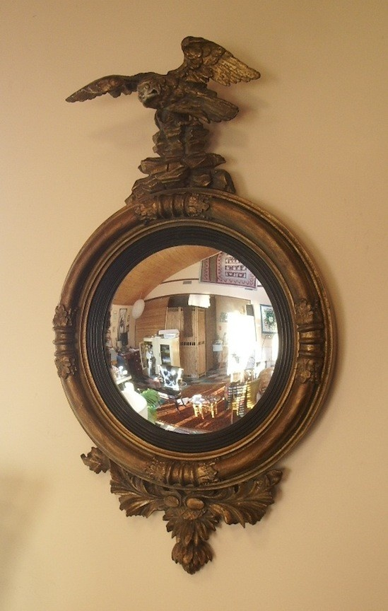 Round Mirror Heavy Frame Eagle Motif Convex Glass
