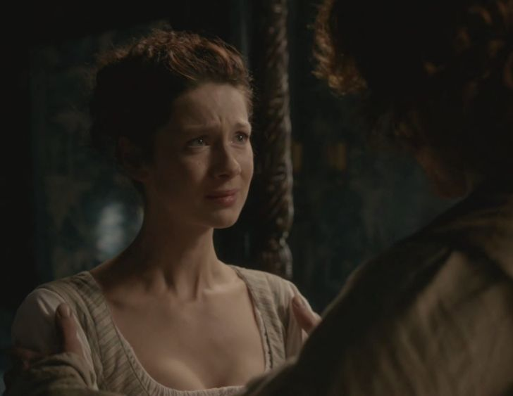 """Claire (Caitriona Balfe) and Jamie (Sam Heughan) in """"The Watch"""" of Outlander on Starz via http://outlander-online.com/2015/05/03/1370-uhq-1080p-screencaps-of-episode-1x13-of-outlander-the-watch/"""