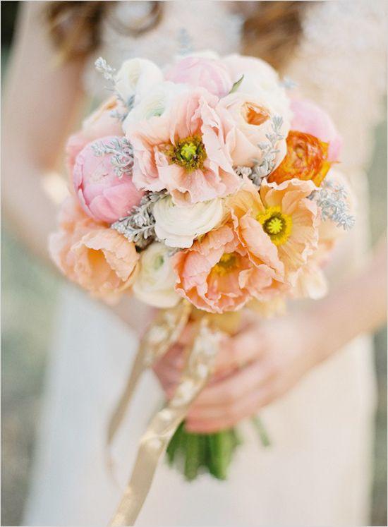 pink and peach wedding bouquet  Romantic Peach Wedding Bouquet     Recipe:  16  Icelandic Poppies (coral), 7  Juliet David Austin Garden Roses (peach), 5  Sarah Bernhardt Peonies, tight (light pink), 10  Ranunculus (white), 5 Ranunculus (orange), 10  Protea Cochia (minty grey)