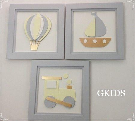 QUADRO BRINQUEDO BRANCO E CINZA - Decoração quarto bebê, quadro brinquedo branco, amarelo e cinza. #baby, #room, #decor www.gkids.com.br