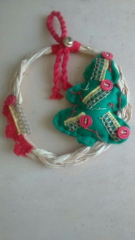 Handmade Christmas mesh wreath