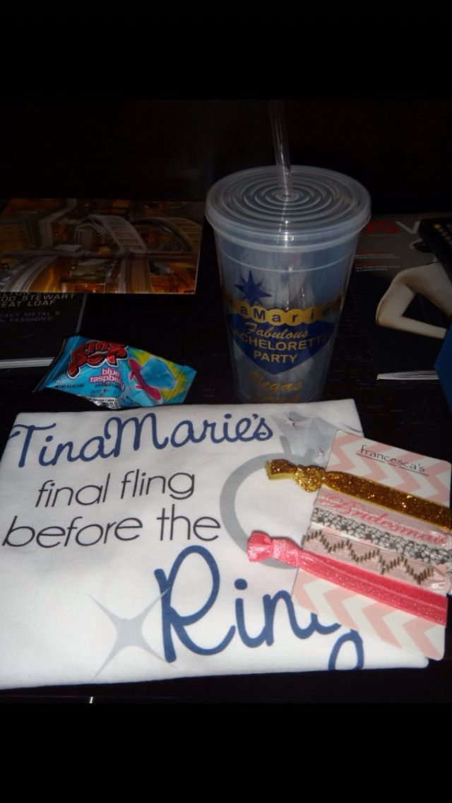 Bachelorette Gift Bag Contents-Shirt and Tumbler from Etsy, Ring Pop, Bridesmaid Hair Ribbons from Francesca's Collection