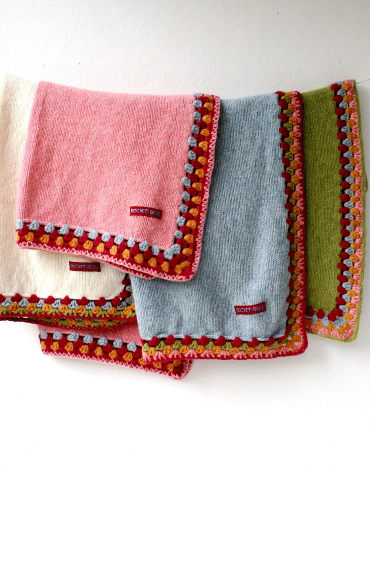 Thick Knitted Blanket with Crochet Edge.