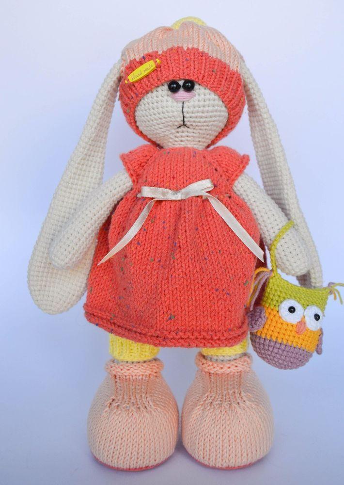 Crochet Handmade Toy Bunny Rabbit Girl Soft Doll Artist 12 in