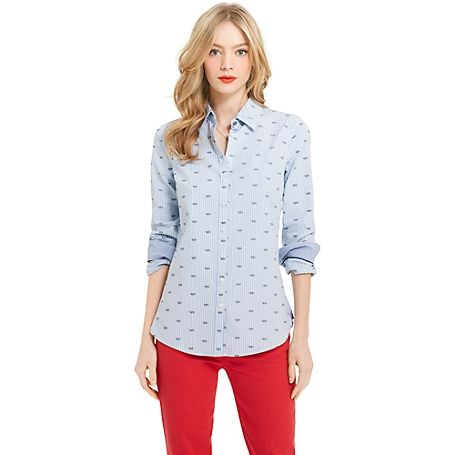 Tommy Hilfiger women's shirt. More than mere Oxford, our feminine take on the classic shirt features an adorable rope print. Nautical and nice, indeed. • Classic fit.• 100% cotton.• Button down collar, contrast under cuffs.• Machine washable.• Imported.
