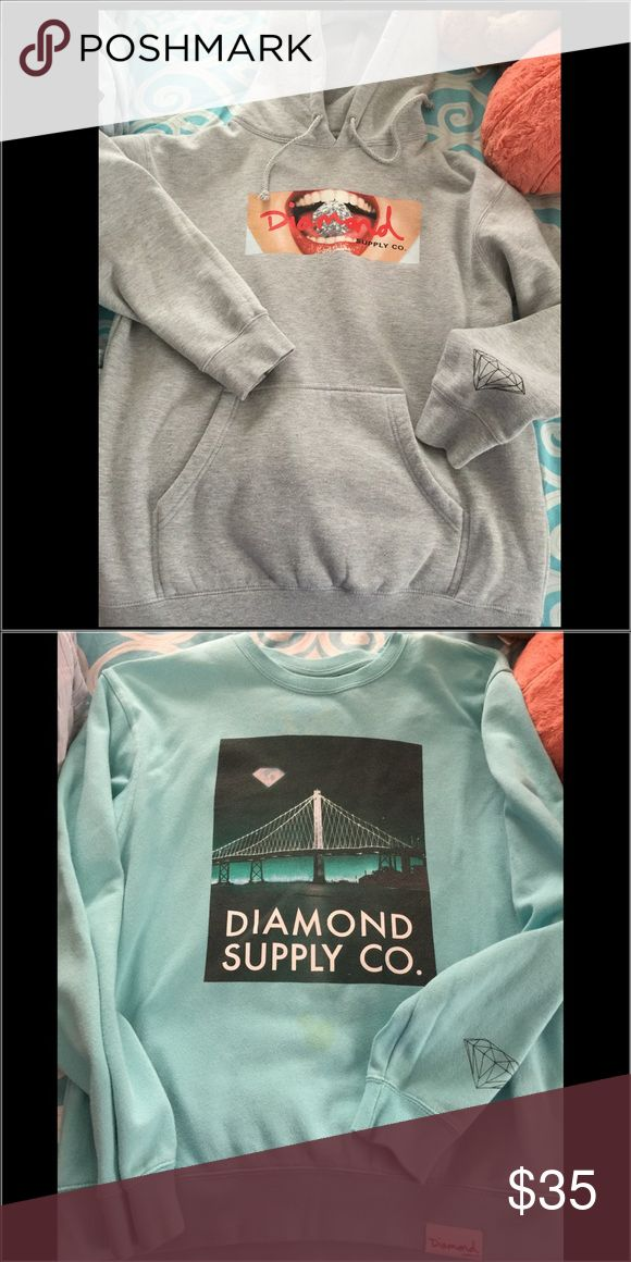 LOT-2-Men's sz Large Diamond Supply Co. - Hoodies Men's Diamond Supply Company Hoodie & Pull Over sweat shirt. Hoodie is brand new, pullover was worn once, it has a stain,not sure if it's washable? Both for $35 Diamond Supply Co. Tops Sweatshirts & Hoodies