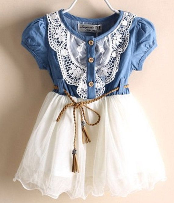 Denim and Lace Country Cowgirl Dress with Leather by InfantileShop