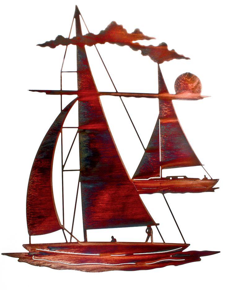 Sailboats at Sunset Laser Cut Metal Wall Art
