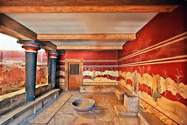 the hall of the throne at the menoan palace of knossos crete