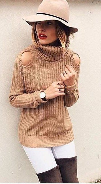 #fall #outfits Camel Turtleneck Knit // Beige Hat // White Skinny Jeans // Camel Riding Boots