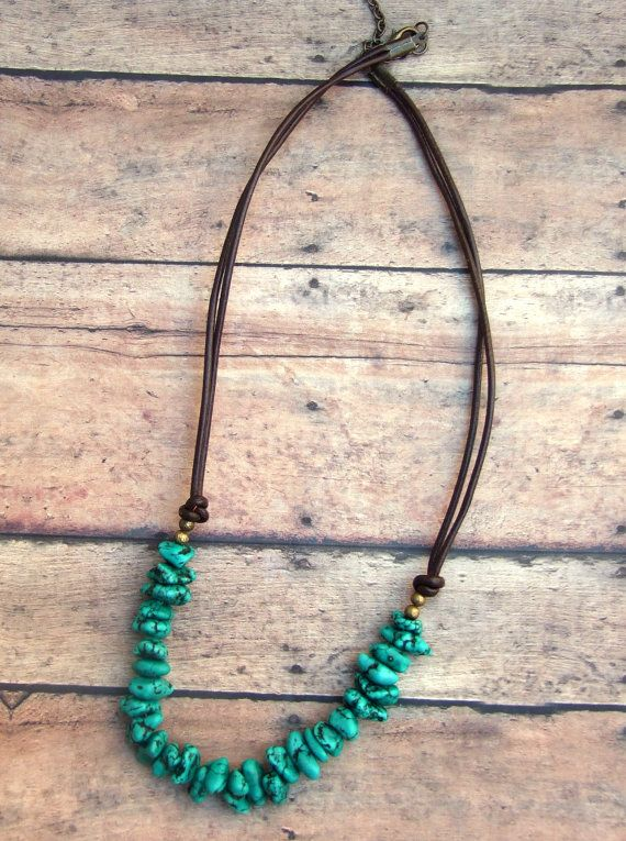 Bohemian, Leather, Dark Brown, Turquoise, Green, Nuggets, Double Strand, Brass, Necklace, Double Strands chips (wel grote) van turkoois  rest is brons lengte 52cm met verlengketting tot 60 cm 35 dollar