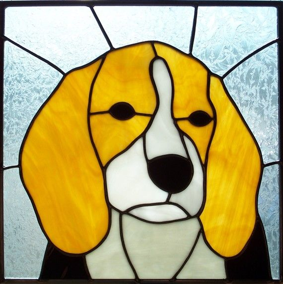 Stained Glass Beagle Puppy Portrait