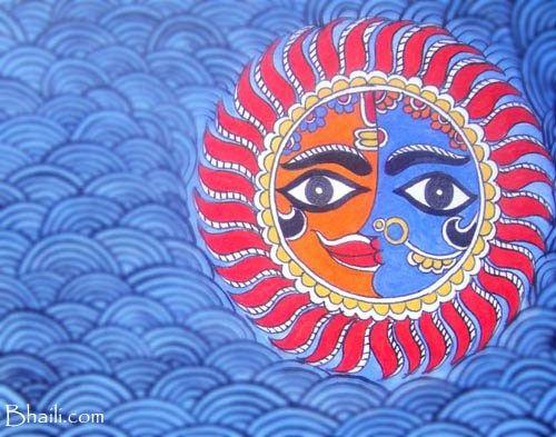 Madhubani painiting Sun motif
