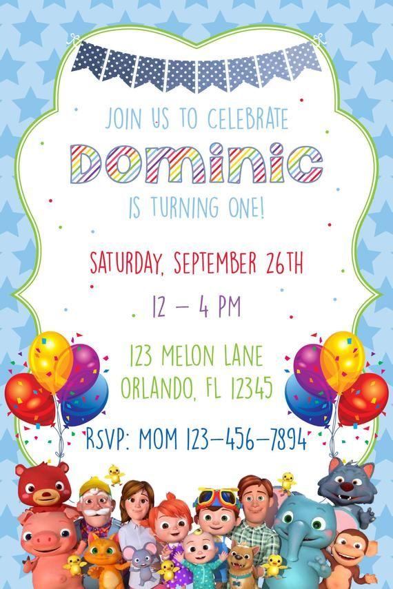 cocomelon birthday invitation