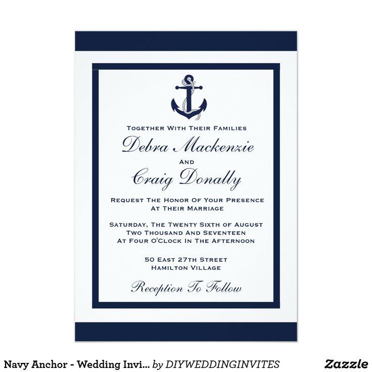 Navy Anchor   Wedding Invitation