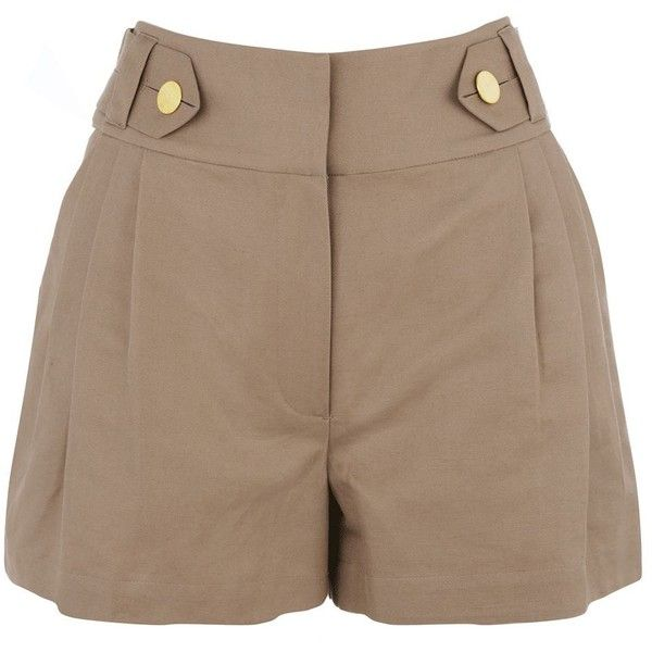 Warehouse Tab button shorts ($15) ❤ liked on Polyvore featuring shorts, bottoms, pants, short, button shorts and short shorts