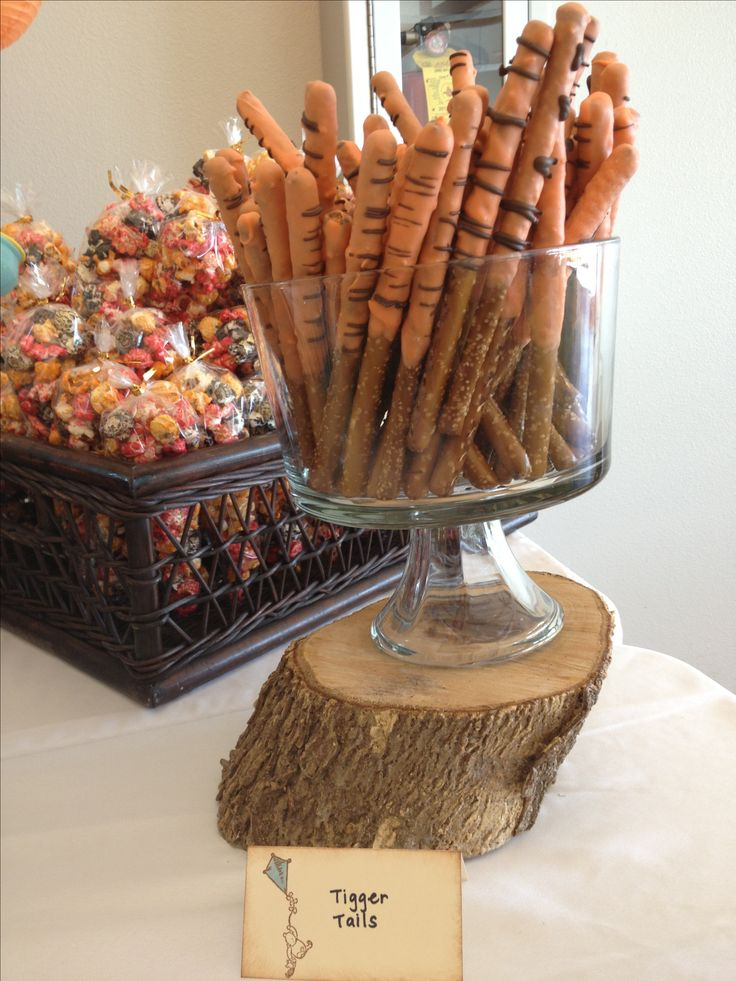 Tigger tails chocolate dipped pretzels for classic Winnie the Pooh baby shower
