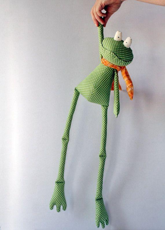 Green Polka Dot Frog stuffed toy by andreavida on Etsy