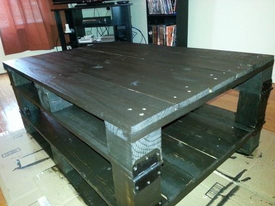 Homemade Coffee Table   2 Pallets, 1 4x4, Some Door Hinges, U0026 Wood