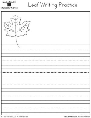 Leaf Book Cover and Writing Practice | A to Z Teacher Stuff Printable Pages and Worksheets