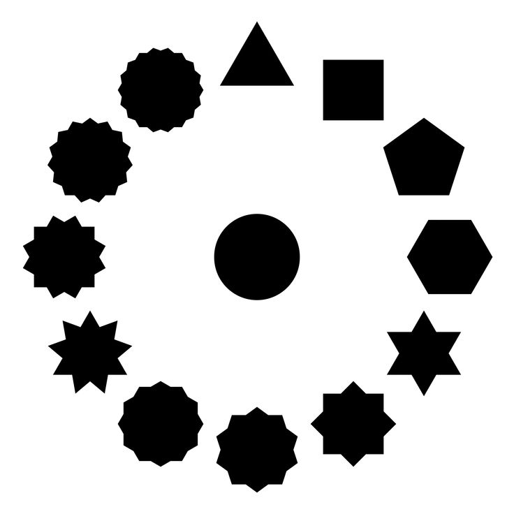 polygons stars and the circle by @10binary, This is a picture containing 12 kinds of polygons, some of which also could also be considered a star.The main goal of this is to show that the more points a regular polygon or star has, the closer it becomes to being a circle. The circle is in the middle because I like to have it included and because something should be in the middle.There is also a dodecagon in the vector file which is what held the 12 polygons in the proper place., on…