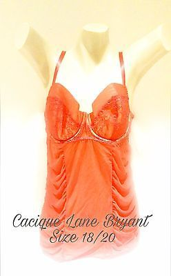 Cacique Lane Bryant Plus Lingerie Red Nightie Chemise Babydoll Sheer 18/20