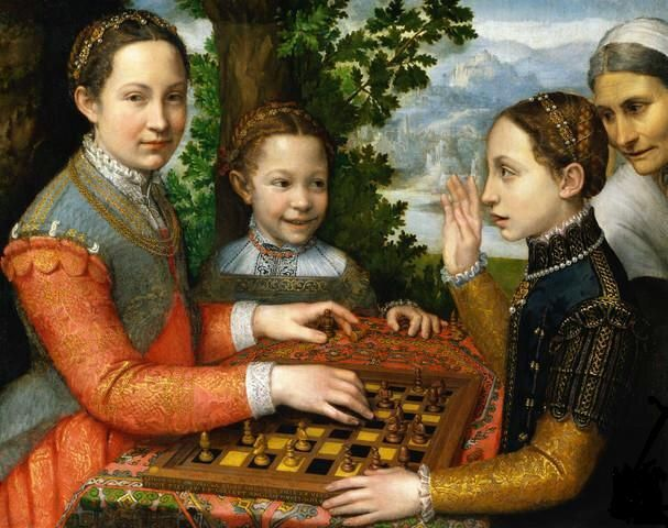 1550- The last time someone depicted girls playing chess ;-)  painting by Sofonisba Anguissola