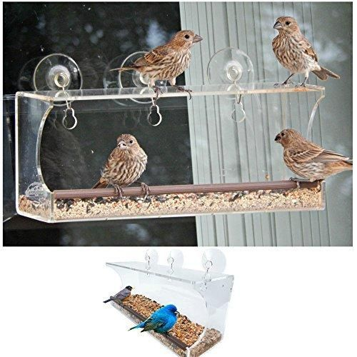 Clear Window Bird Feeder. Suction Cup Design for Best Bird Watching. Squirrel Proof and Easy to Clean. Comfortable Rubber Perch and Sturdy Acrylic Holds Up in All Weather.