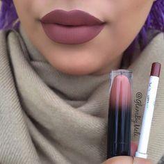 details on lipstick@blackmooncosmetics (Libra) & @colourpopcosmetics lip liner (Grunge)