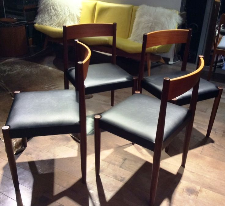 4 Poul Volther for Frem Rojle Mid Century Modern Teak Chairs REFINISHED REUPHOLSTERED