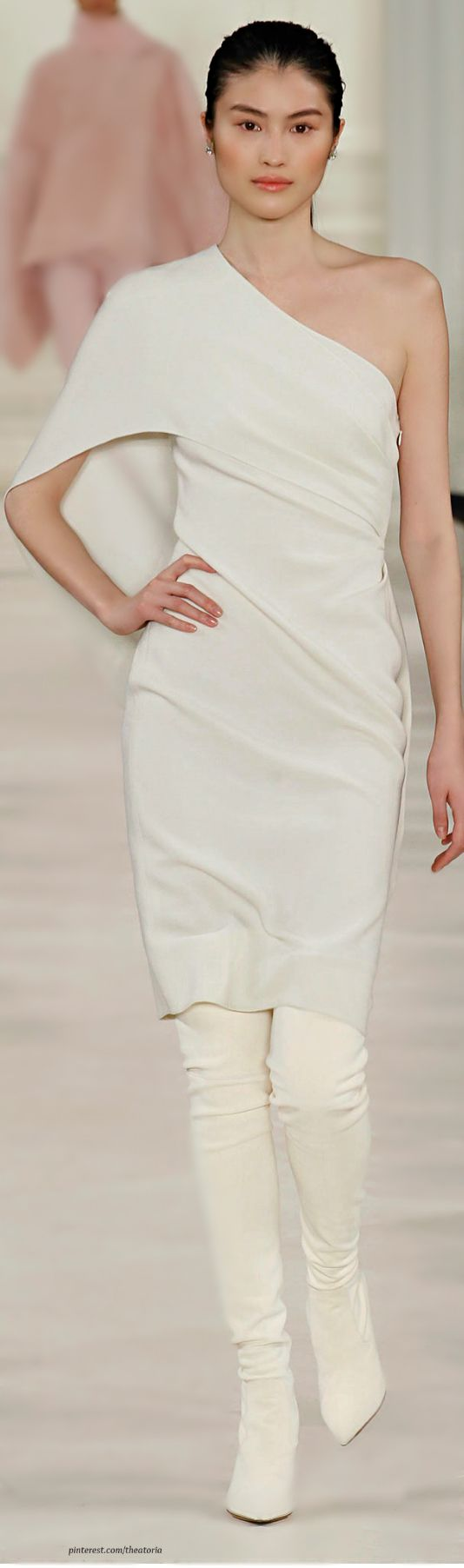 Ralph Lauren ~ Fall One Shoulder White Midi Dress. w White Trousers,  2014