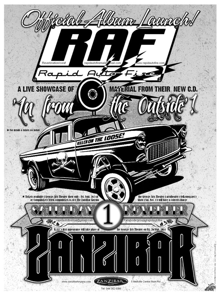 Artwork by MOFO Graphic Rock (mofographicrock@gmail.com) for the release of Rapid Auto Fire's debut album 'In From The Outside' held at Zanzibar, Knysna.