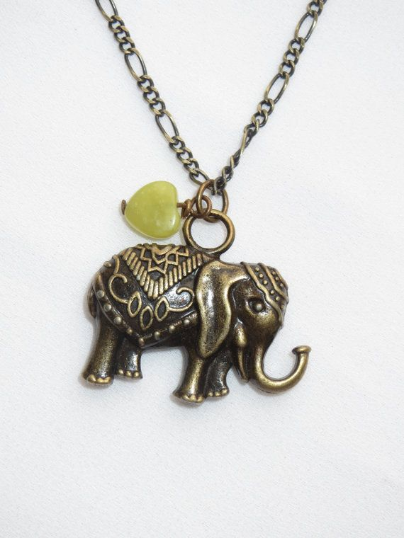 Brass Bronze Elephant and Love Heart Charm  Necklace by Thielen, $14.00