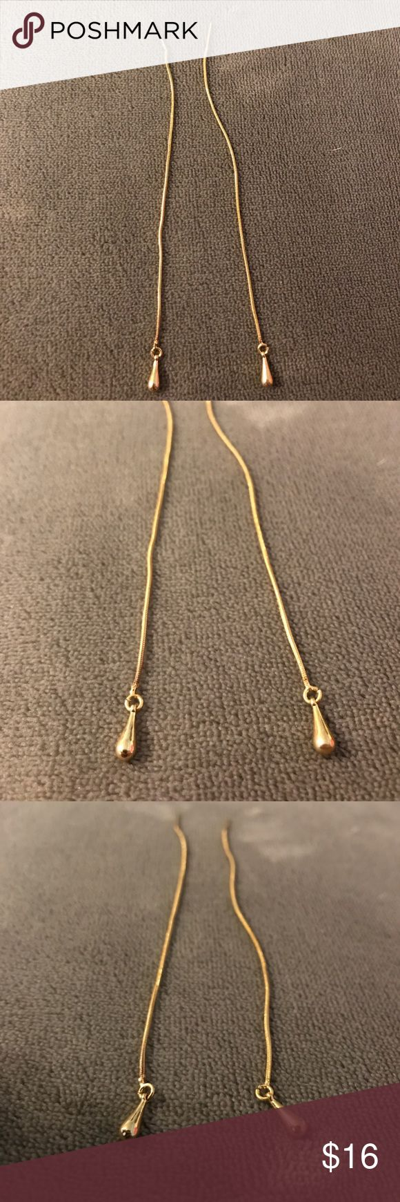 "Threaded ""Pull Through"" Gold Pendent Earrings *NWB Never Worn Before Gold ""Pull Through"" Pendent Earrings. Simple, Elegant, & the Perfect Accessory to an Outfit Jewelry Earrings"