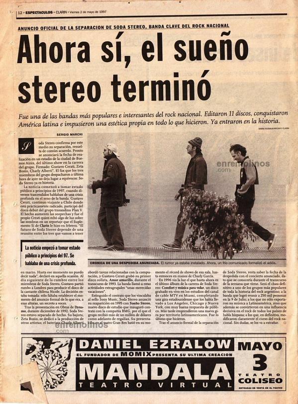 """Cerati-Soda a Muerte en Twitter: """"""""Se Separó Soda Stereo"""",Diario @clarincom,Argentina 1 de Mayo 1997 #17Años de la confirmación por parte de @suplesi. http://t.co/XpYyCpStrj"""""""