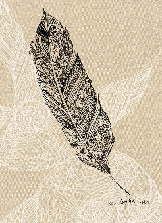 pretty pen and ink drawing of a feather