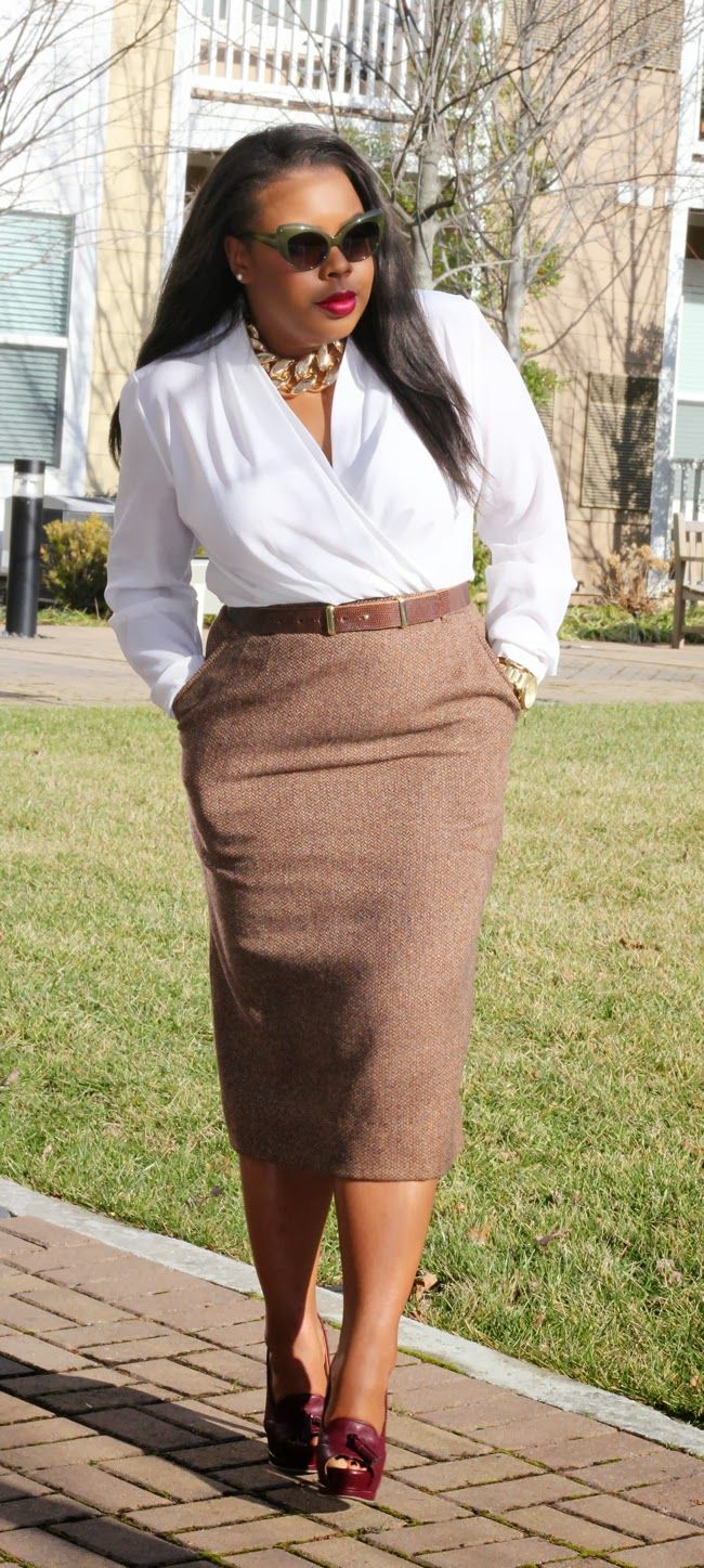 "thrifted blouse, tweed pencil skirt, burgundy heels.  #thick   #curvy    ""if you like my curvy girl's fall/winter closet, make sure to check out my curvy girl's spring/summer closet.""   http://pinterest.com/blessedmommyd/curvy-girls-springsummer-closet/pins/"