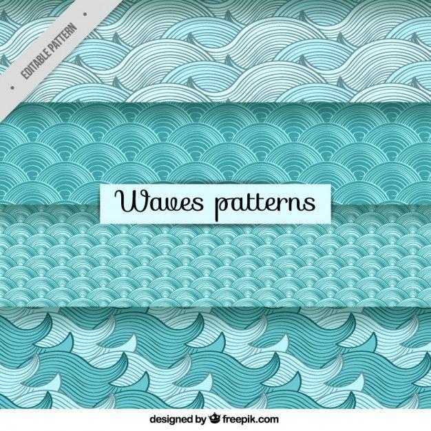 desenhado mão variedade de padrões de ondas Vetor grátis