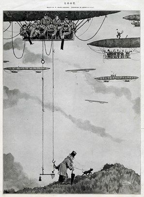 An unsuspecting gentleman walking his dog is being robbed by a group of Germen soldiers in a zeppelin using a hook and some rope. Please note: Credit must appear as ® Courtesy of the Estate of Mrs J.C.Robinson/Pollinger Ltd/ILN/Mary Evans