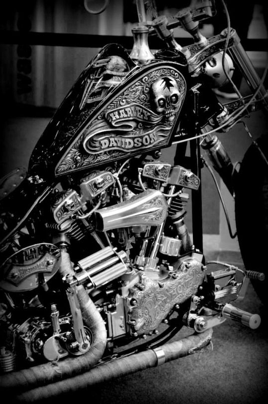Stunning motorcycle in b&w