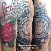 tâm knightz. clock and rose tattoo