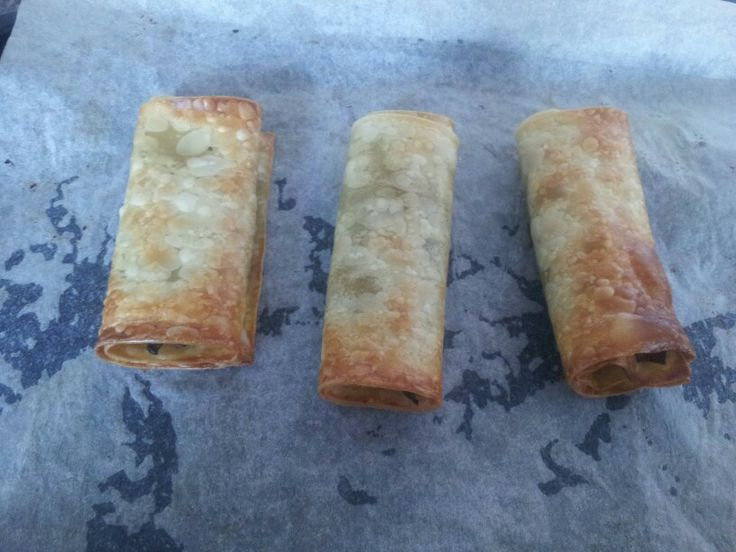 Spring rolls. 1 lasagne sheet per spring roll. Stir fry mix (o used asdas frozen one). 2 tbsp soy sauce Stir fry the mix and add soy sauce. At the same time boil water in a large pan with salt and pepper. When boiling add the sheets and leave for 5 mins. Pre heat oven to 220c. Placw sheets on bakibg paper on a baking tray, add the mix and roll. Cook for 15-20 mins till golden x