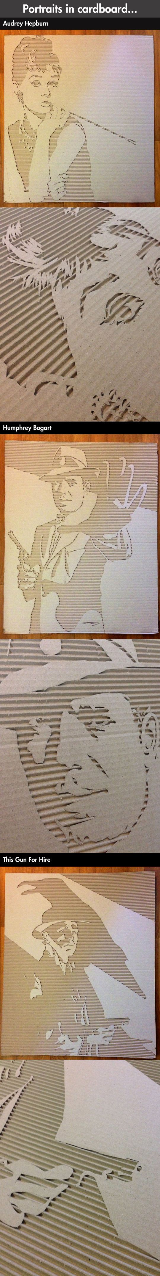 Carving portraits into cardboard // funny pictures - funny photos - funny images - funny pics - funny quotes - #lol #humor #funnypictures