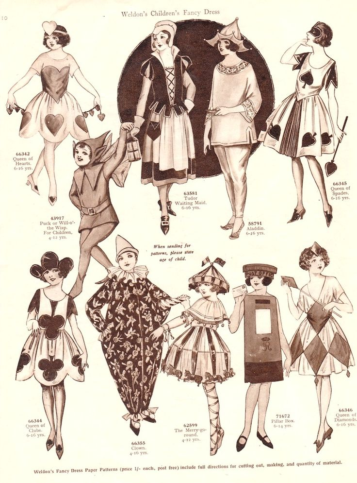 WELDON'S CHILDREN'S PARTY COSTUME  PATTERNS with Suggested Ages c. 1920s, London, >< 2 of 5