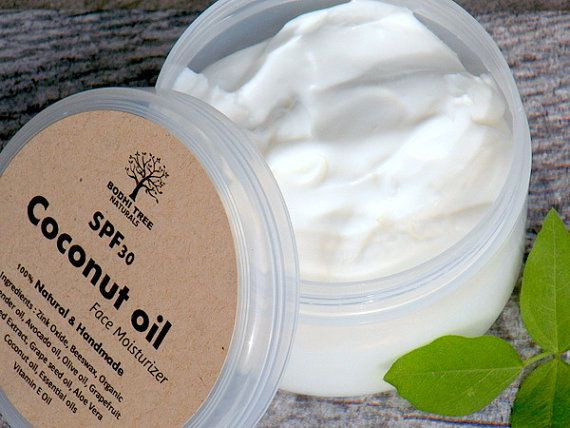 SPF30 Natural and Handmade Coconut oil Face Cream - Natural Face Moisturizer with SPF - Zink Oxide(Non- Nano)