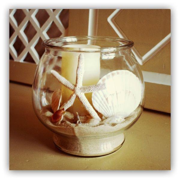 realiza un encantador adorno para tu casa de playa solo con un frasco de vidrio y