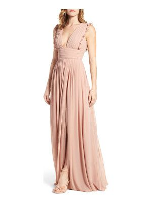 MONIQUE LHUILLIER BRIDESMAIDS Deep V-Neck Ruffle Pleat Chiffon Gown