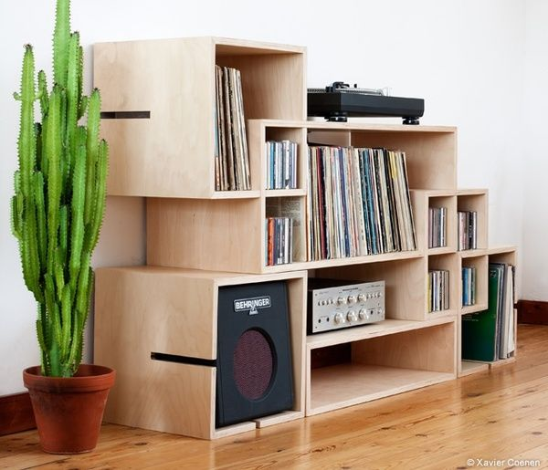 Estantería para discos, equipo de música...