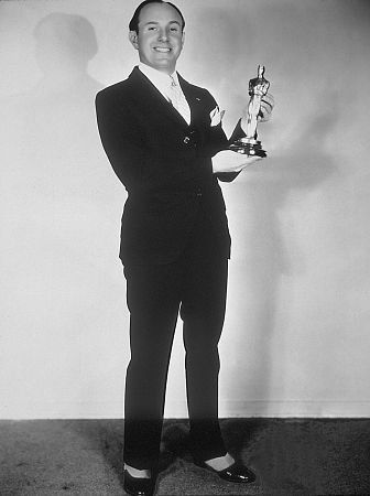 "Jack Warner with the Special Oscar received for ""The Jazz Singer"" (1927)"